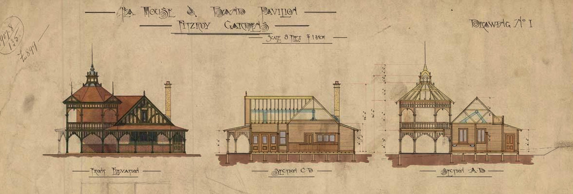 Colour hand-drawn plans for Fitzroy teahouse highlighting the band pavilion