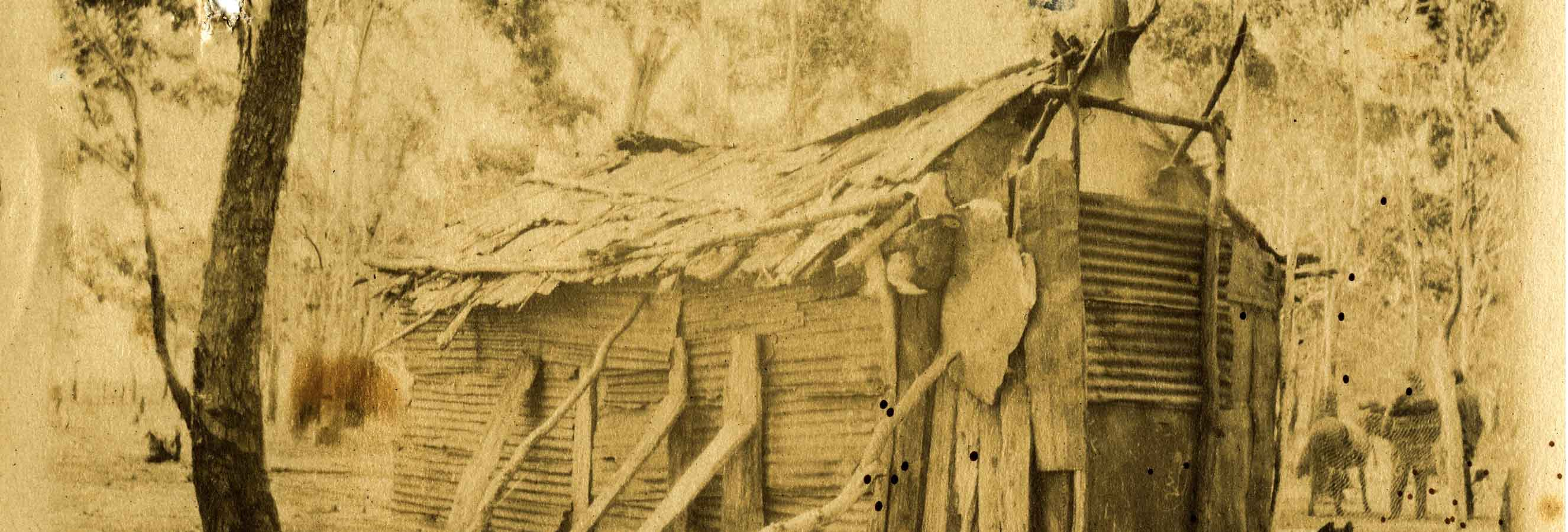 Sepia drawing of a shack