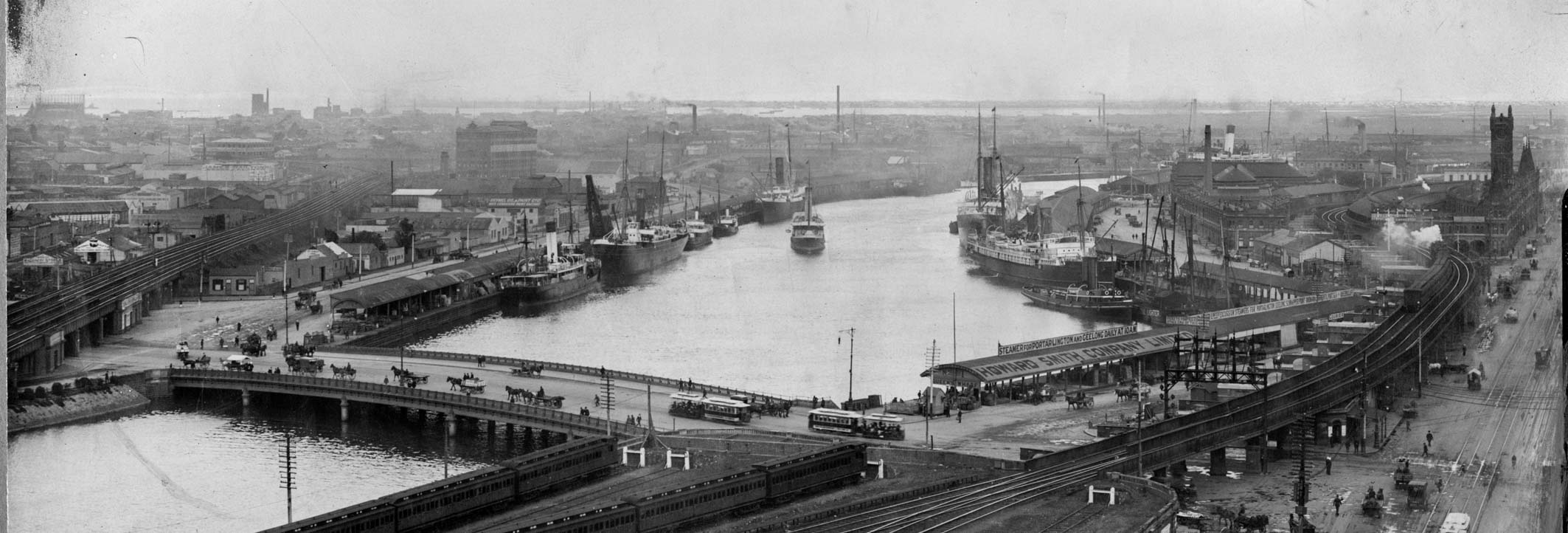 Black and white photo of a river port