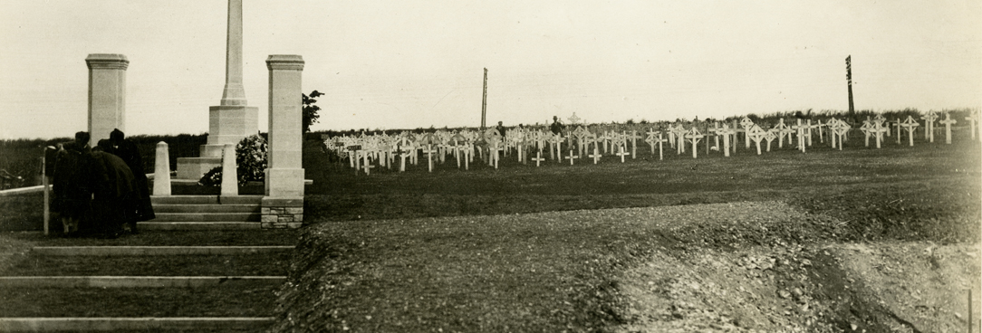 Sepia image of war graves cemetery, Villers Bretonneux, France