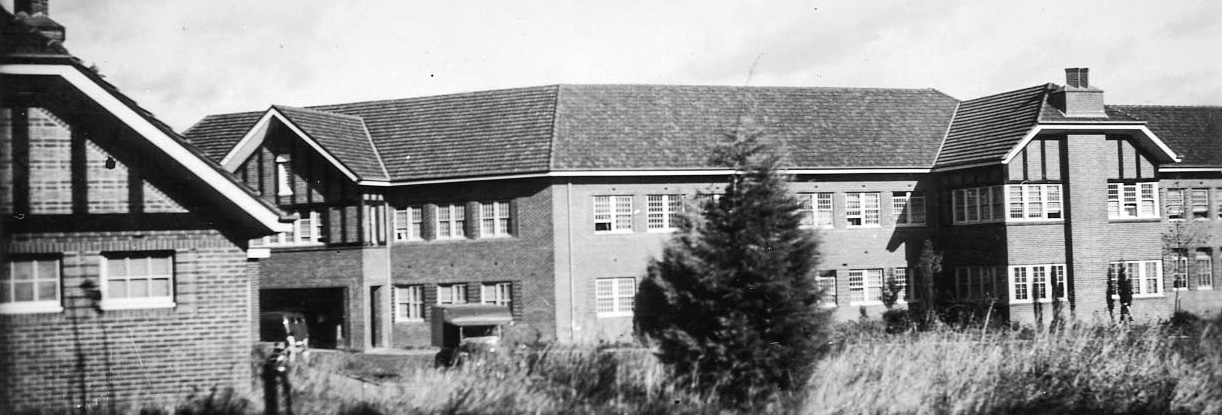 Black and white photo of a mental hospital