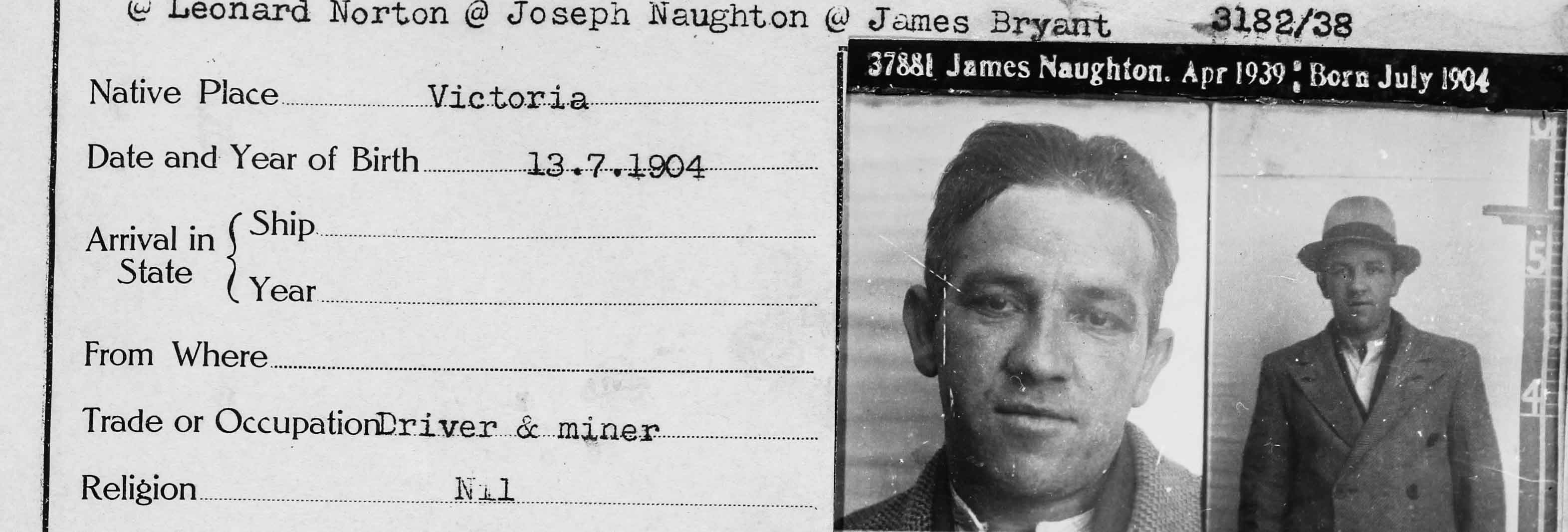 Black and white image, mugshot and description of accused man