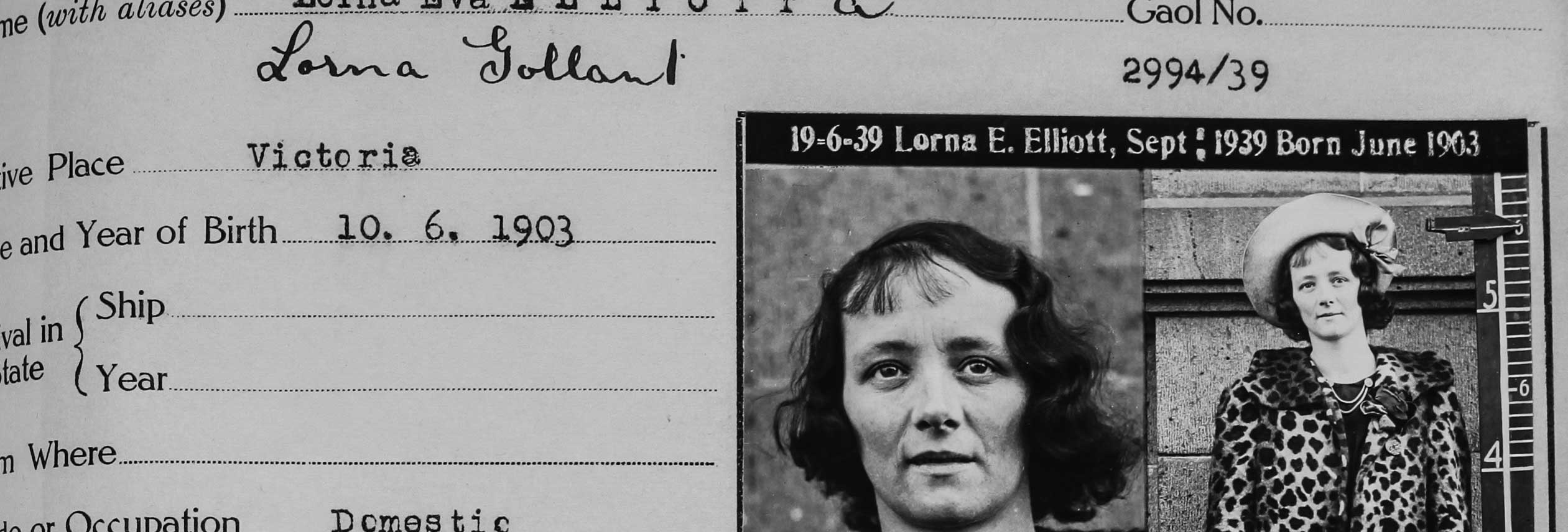 Black and white photo of a woman's criminal record