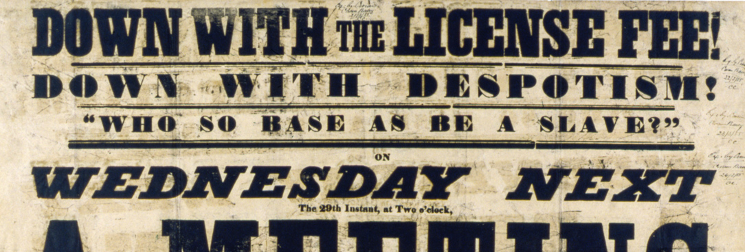 archival poster originally used to protest against gold field licences