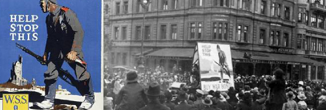 Crowd gathers in Melbourne 1918 and American poster is shown to the left