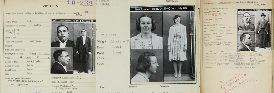 A collage of various crime files and criminal mugshots
