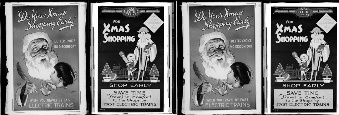 montage of black and white christmas posters