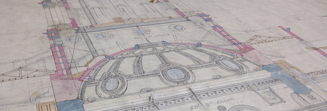 Close up of old historic plan
