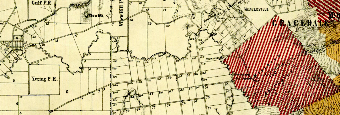 Detail of a colour map PROV, VPRS 8168/P5 Historic Plan Collection, LC (1)90: Evelyn