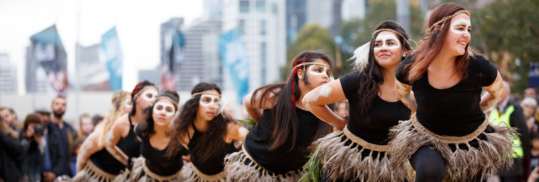 Indigenous Victorian girls dance the warrior dance at fed Square