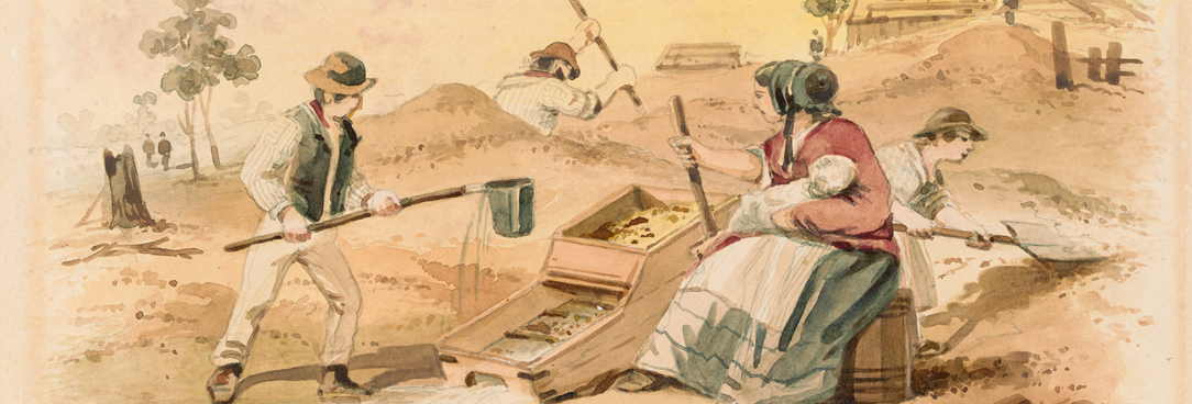 painting of woman and man on the gold fields