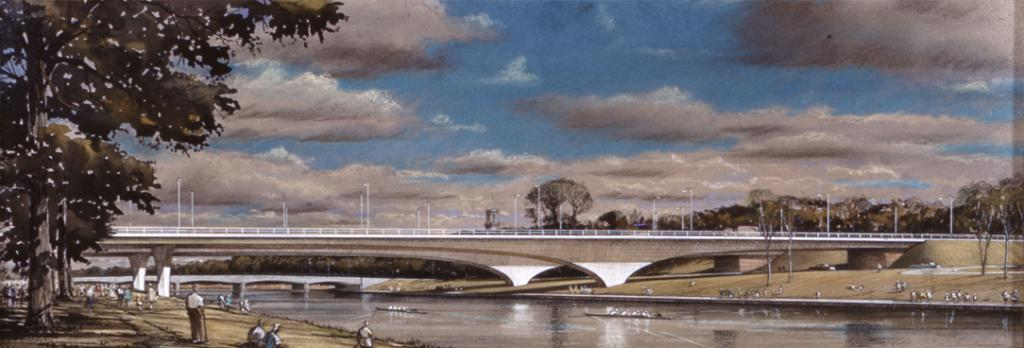 Figure 6: Detail of a photographic slide taken of a framed artist impression of the Yarra bridge for the eastern ring-road, which roughly coincides with the location of the current underground CityLink tunnels. This view of the bridge's elegant span is from the Jolimont side looking eastward, the Swan Street bridge can be seen in the background, PROV, VPRS 8609/P37, Unit 60, F MISC