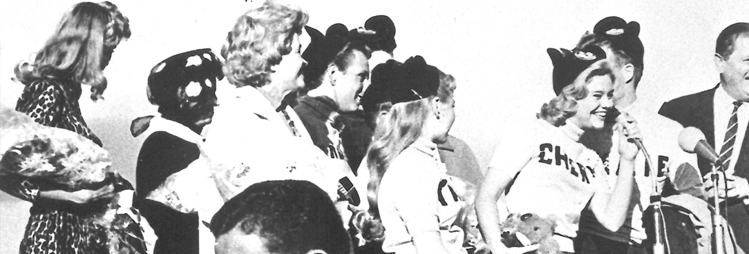 black and white photo of the mouseketeers