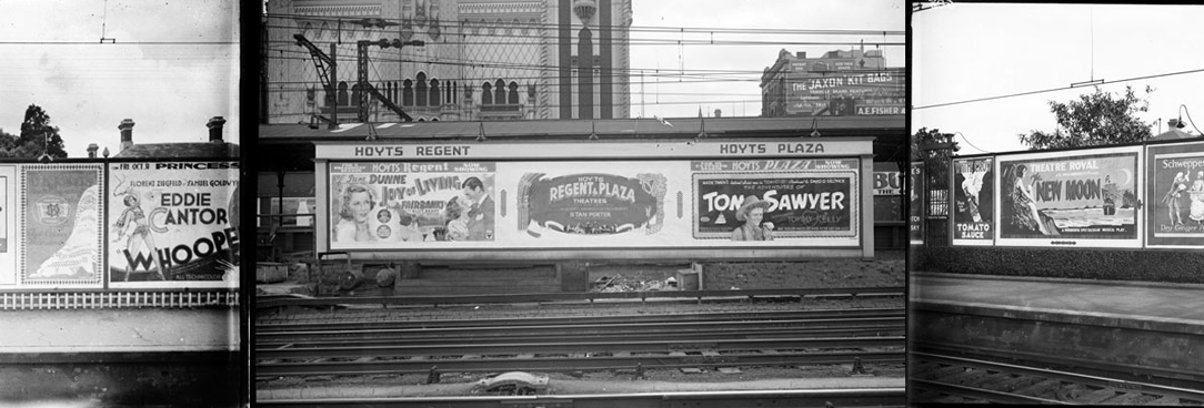 black and white photos of billboards