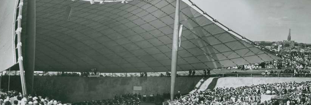Black and white image of Myer Music Bowl
