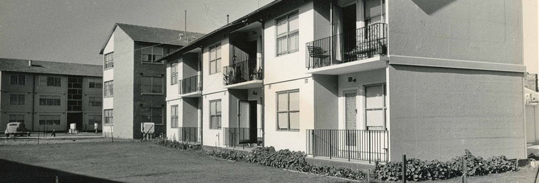 Black and white photo of social housing units in Richmond Melbourne