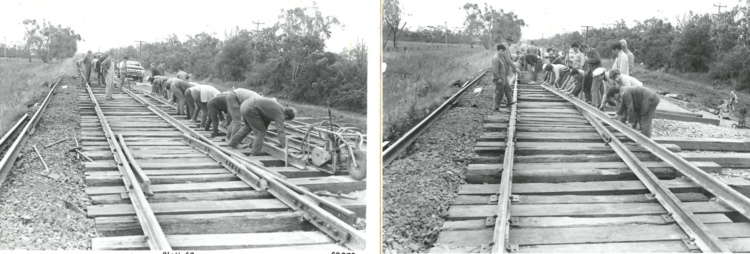 black and white photos of men working on a wooden track