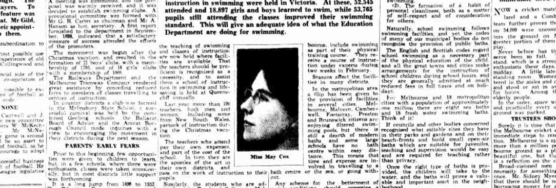 a clipping from a newspaper with a black and white photo of a woman in the centre, Miss May Cox
