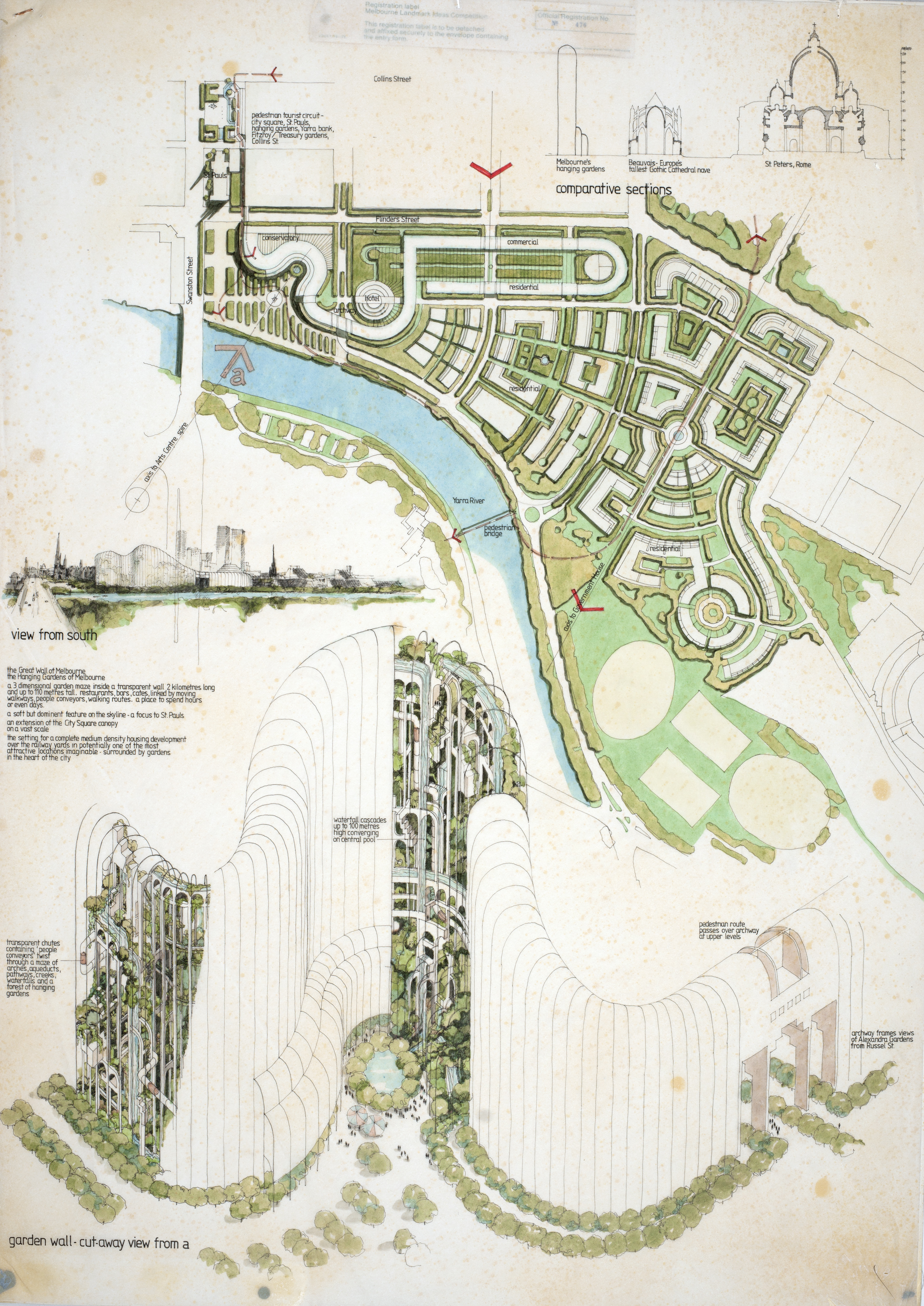 """The Great Wall and Hanging Gardens"" from the Melbourne Landmark Competition Drawings Collection,"