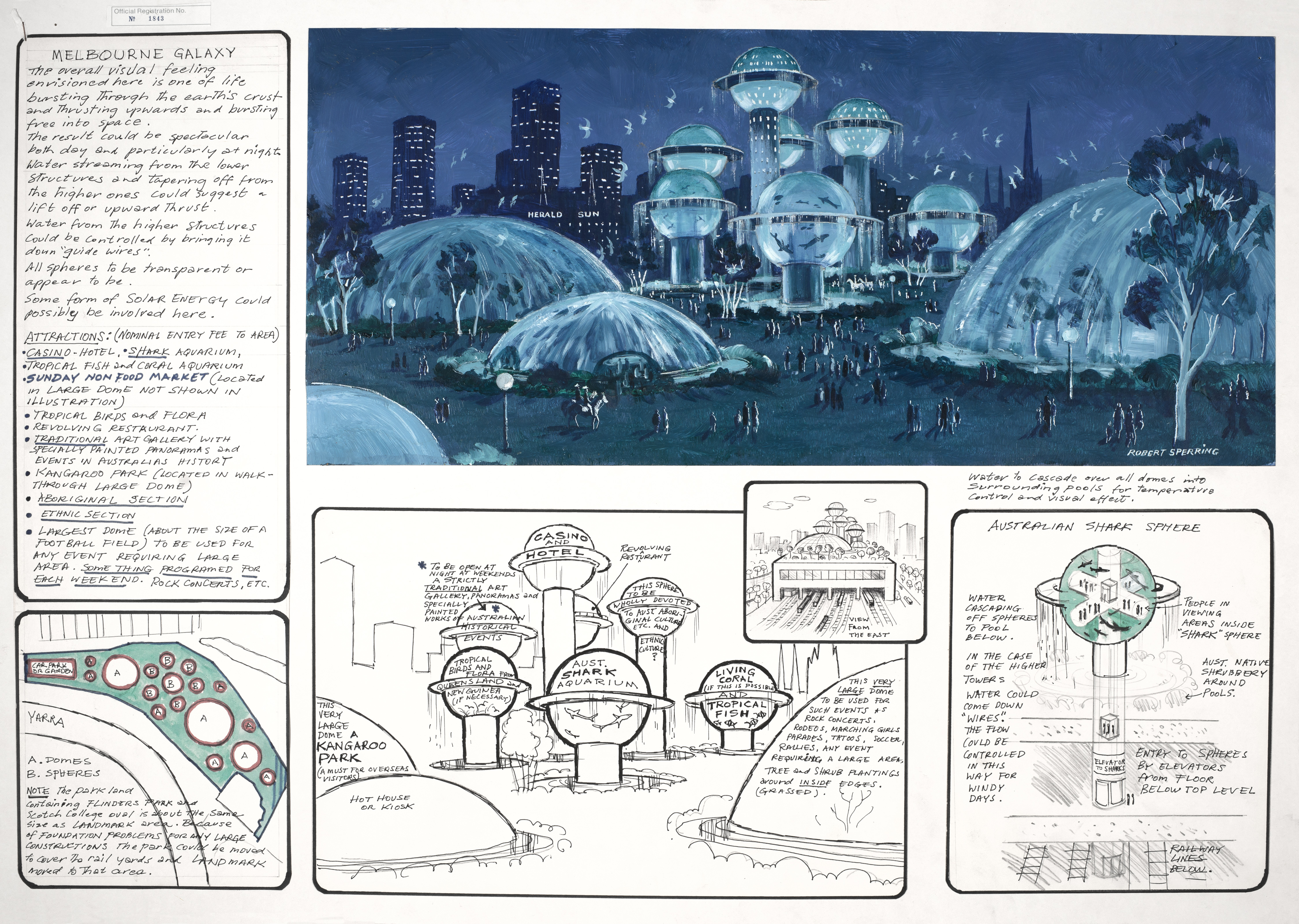 """Melbourne Galaxy"" design from the Landmark Competition Drawings"
