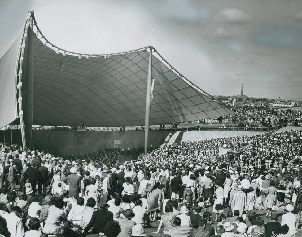 Black and white image of outdoor concert venue Myer Music Bowl 1959