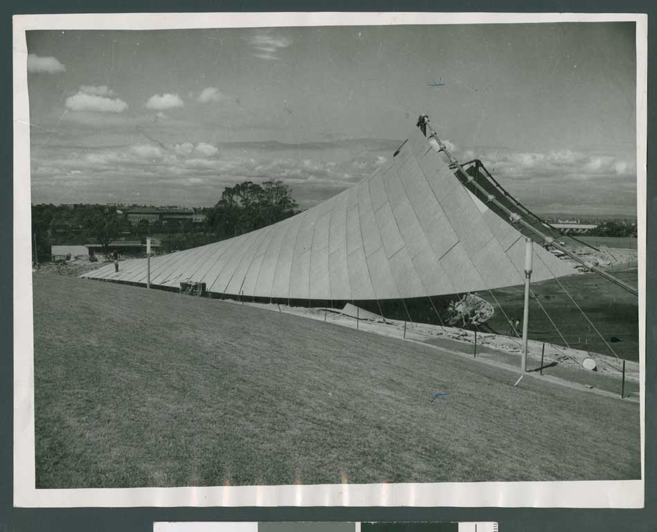 Black and white image of construction of Myer Music Bowl
