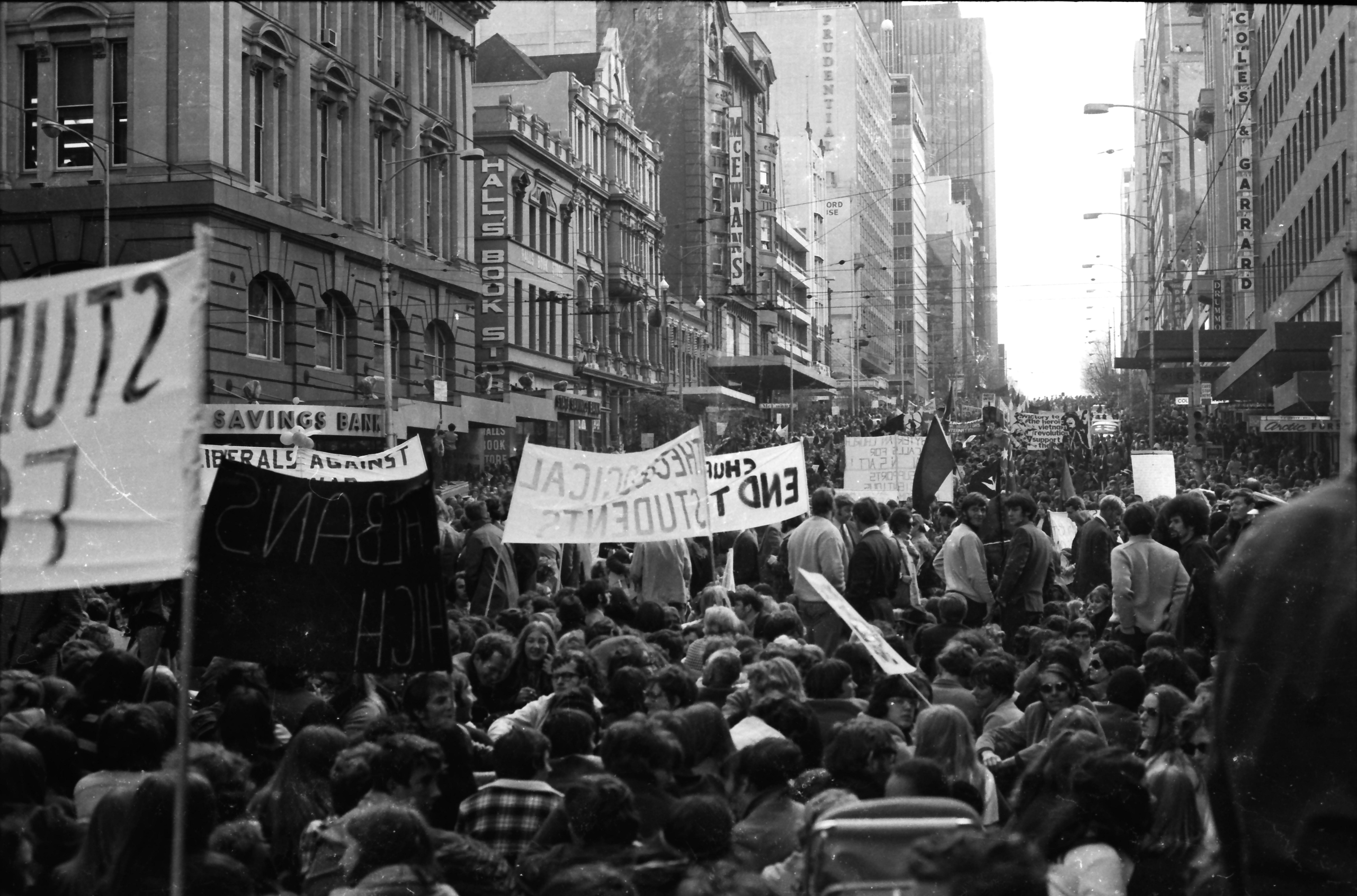 Vietnam Moratorium, corner of Elizabeth and Bourke streets, Melbourne, May 1970.