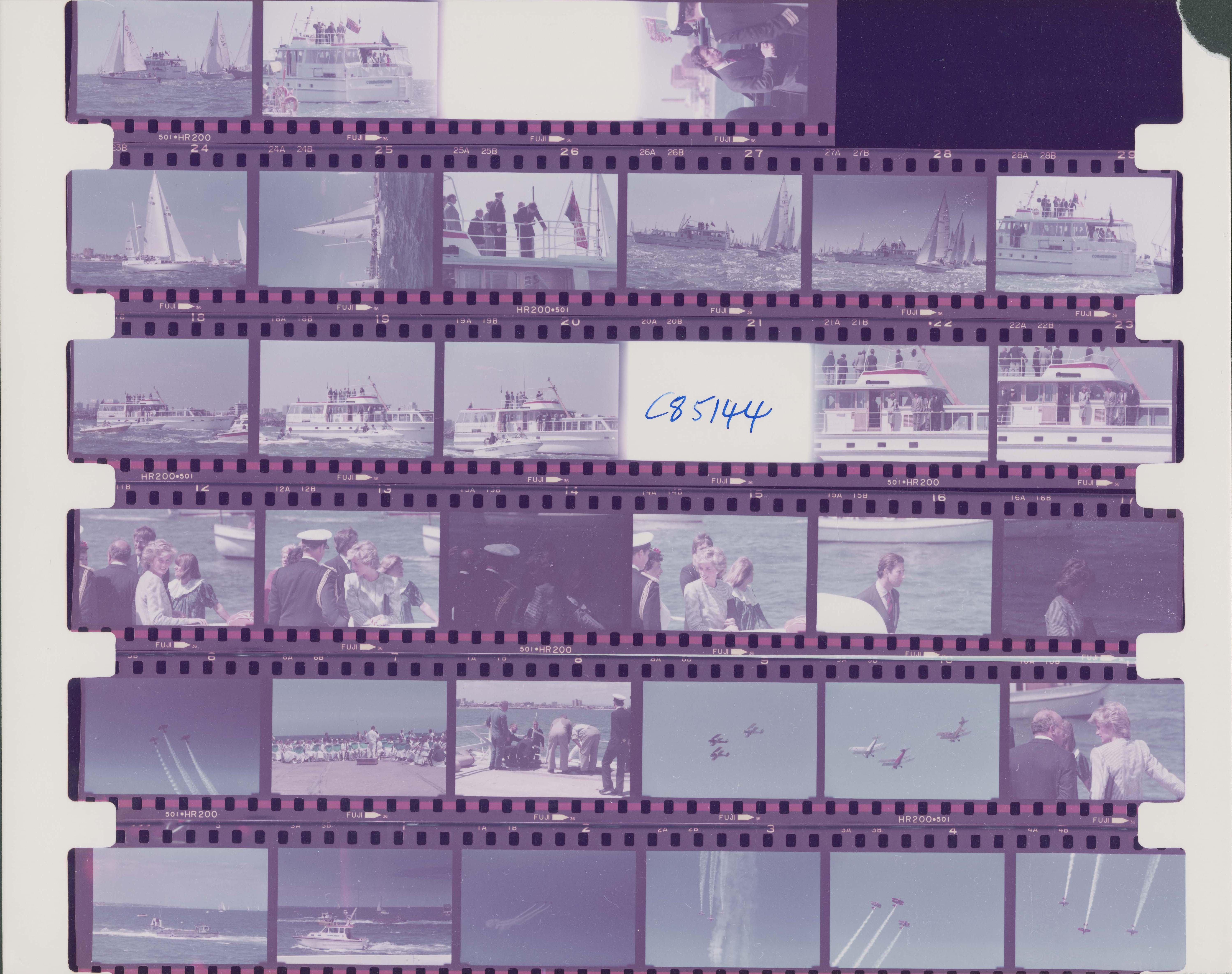 six rows of colour negatives featuring boats, planes and charles and diana