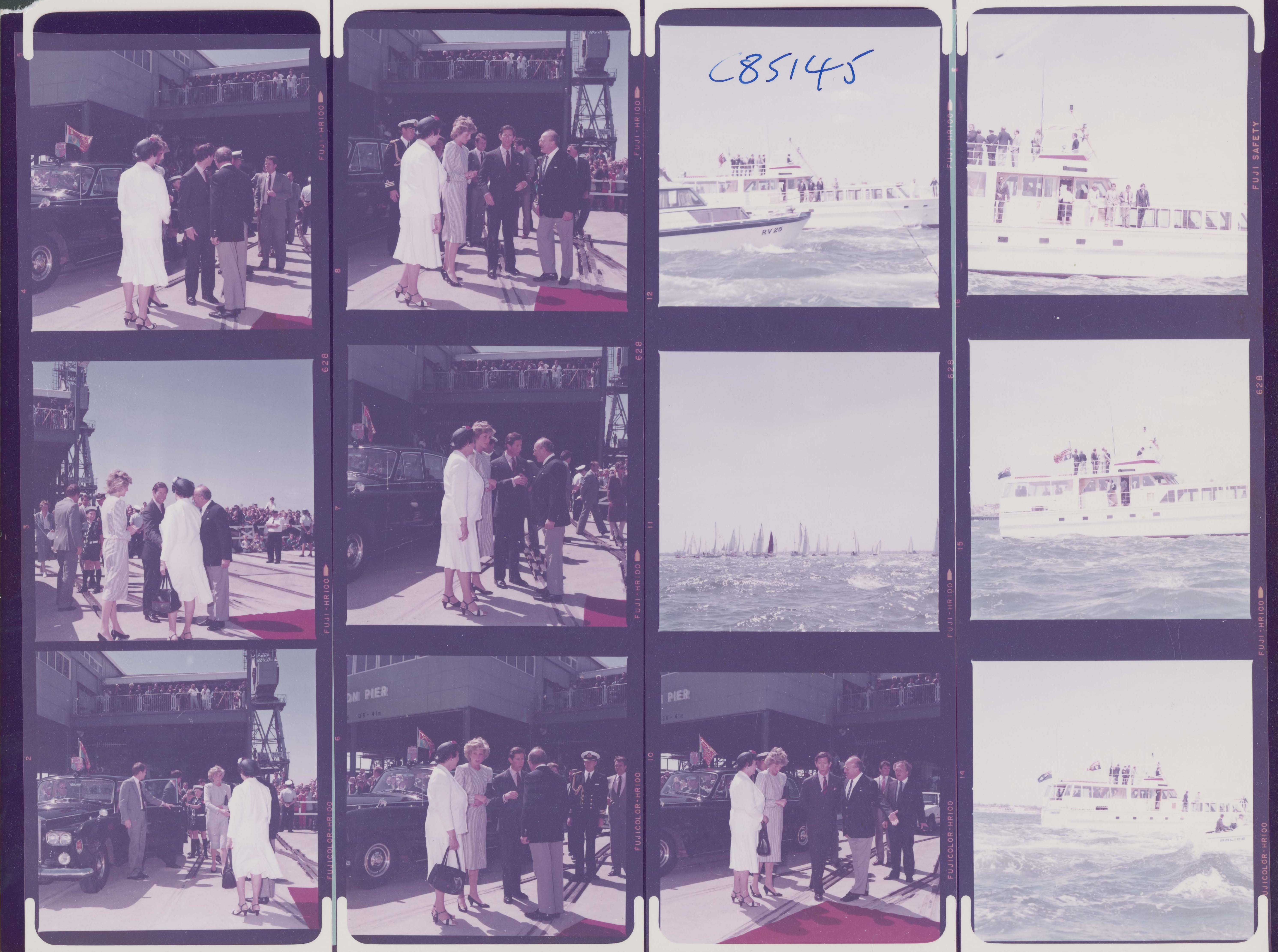 negatives of diana and charles on the docks and ships on the water