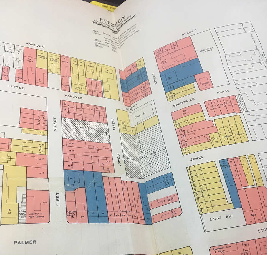 1937 map diagram of houses unfit for human habitation in Fitzroy Melbourne