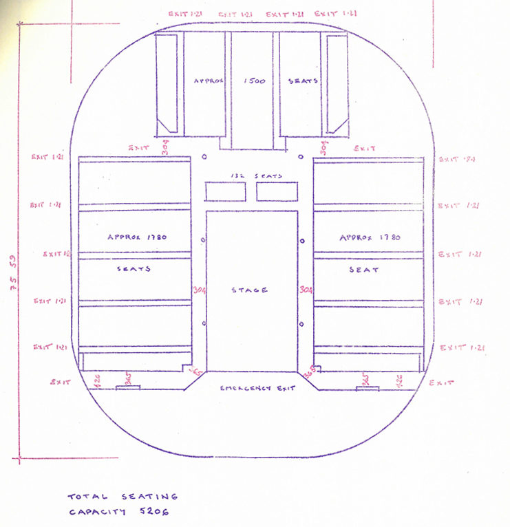 plan for the inside of the tent including seats on the edge of a large circle and stage in the middle