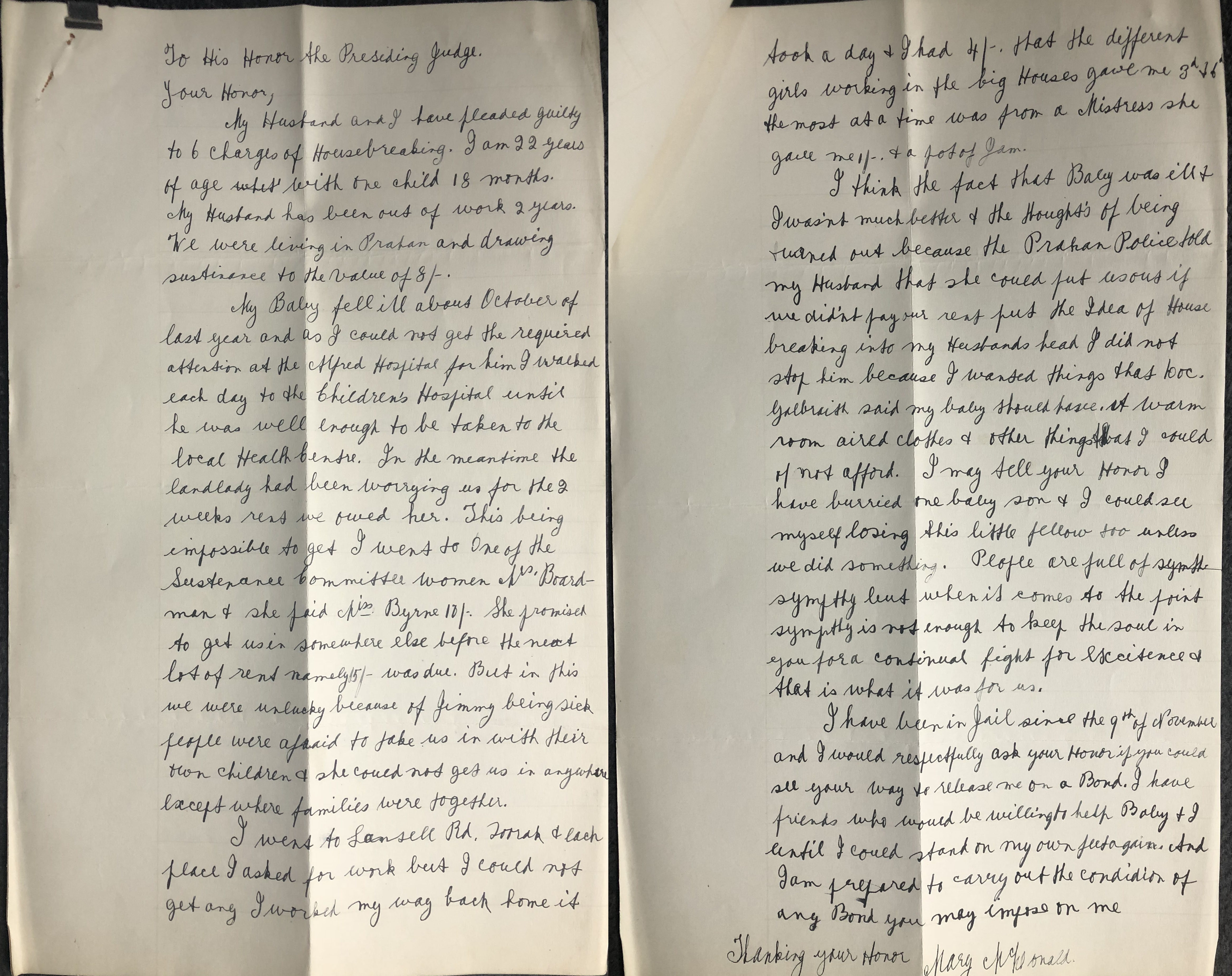 a handwritten letter from Mary to the judge where she explains her circumstances