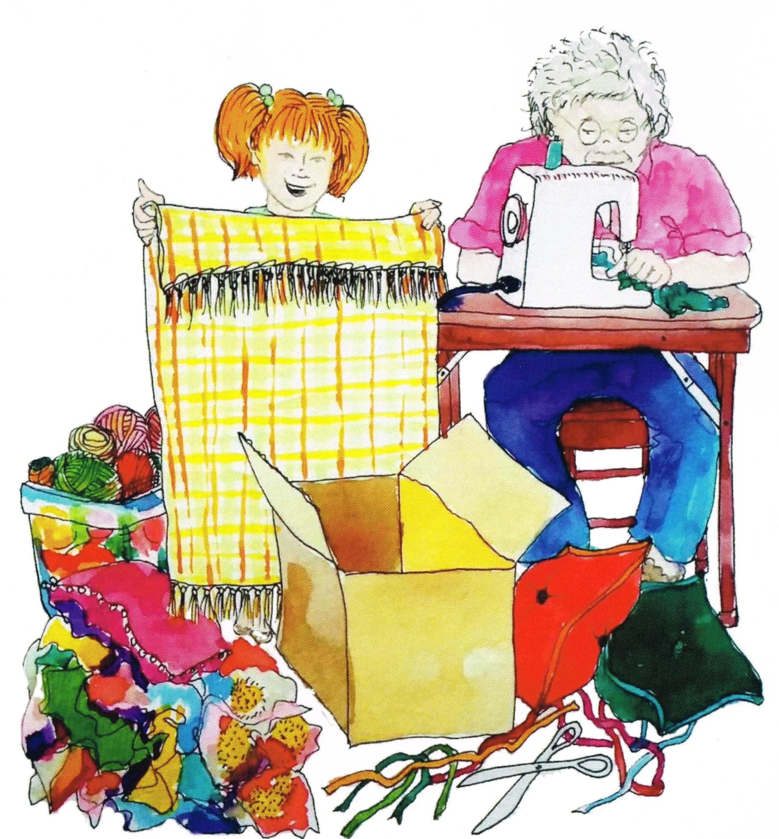 drawing of a granmother and granddaughter chatting and sewing