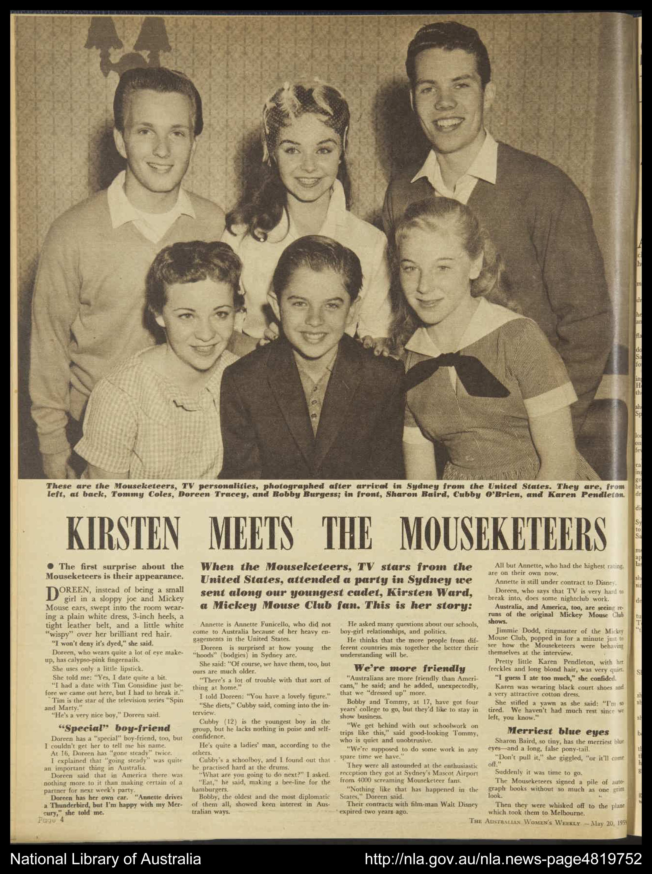 Photo of the Australian Women's Weekly article including a photo of the Mouseketeers