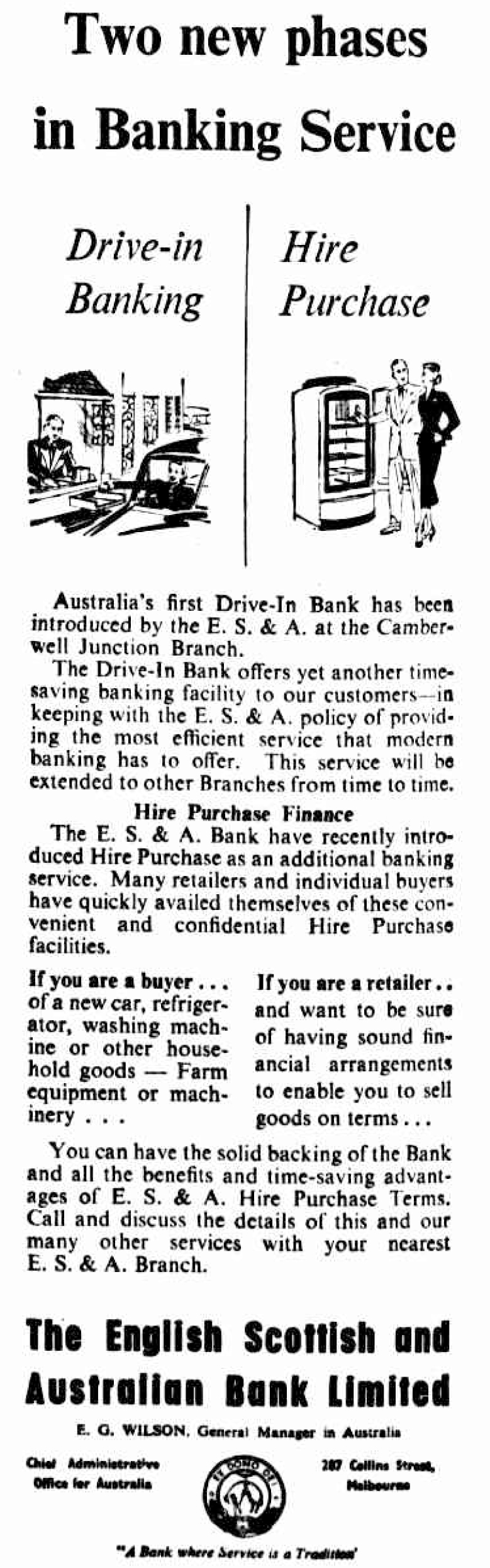 newspaper advertisment about the two new phases of banking service at ES&A Bank: drive-in banking and hire purchase