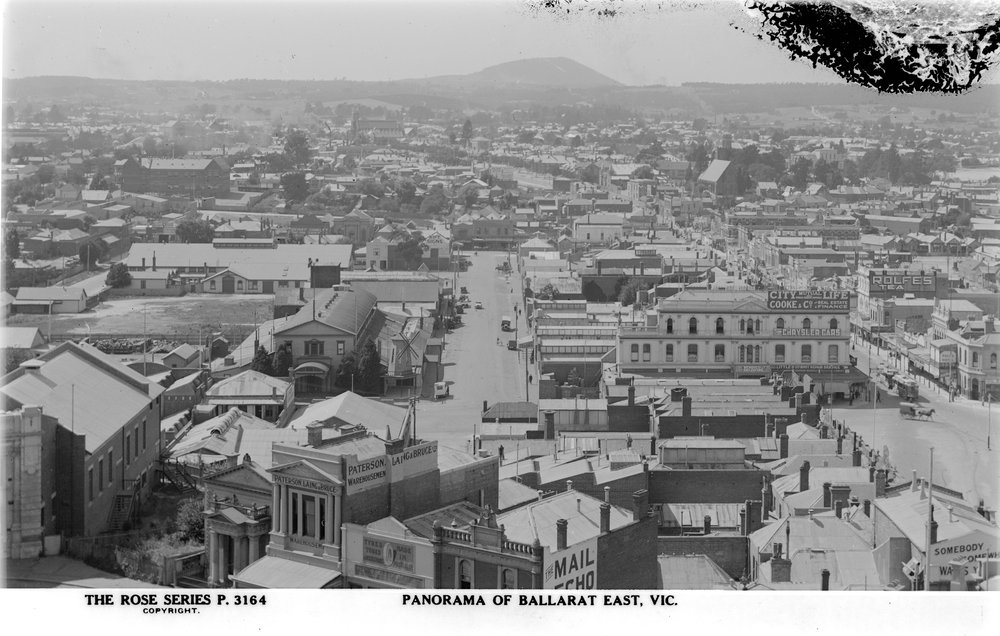 black and white photo of ballarat from a birds eye view