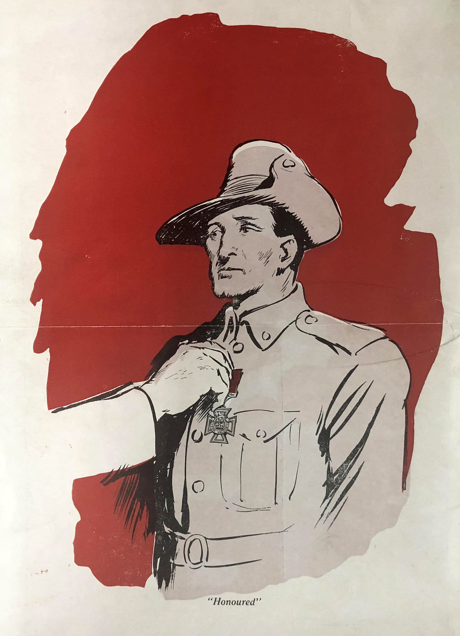 a painting of a soldier surrounded by a red circle and a hand placing a medal on his chest