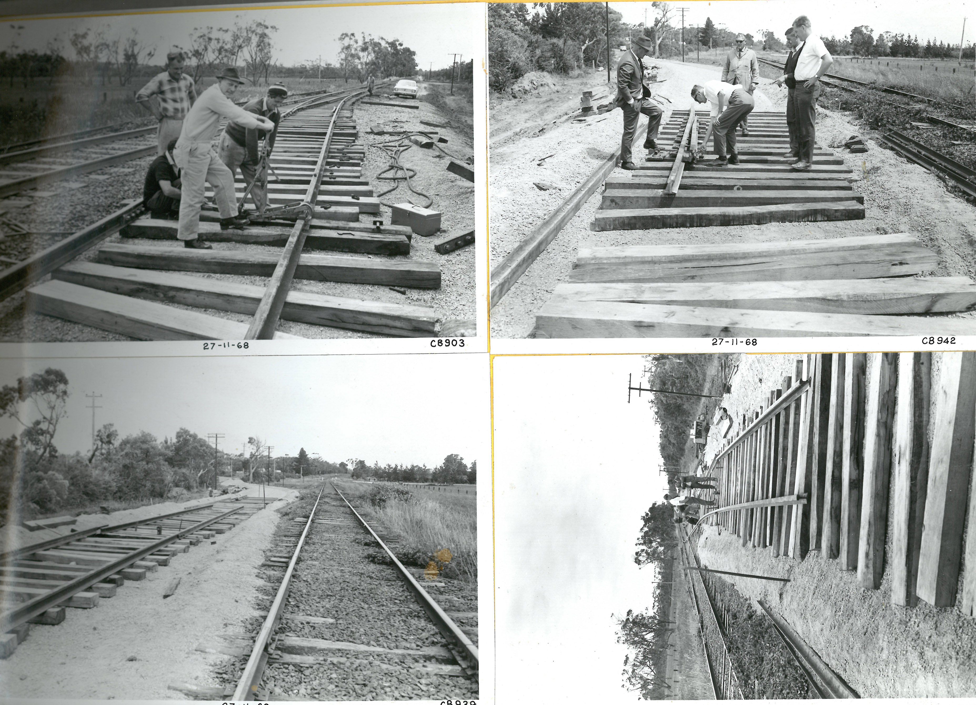 black and white photos of men working on tracks