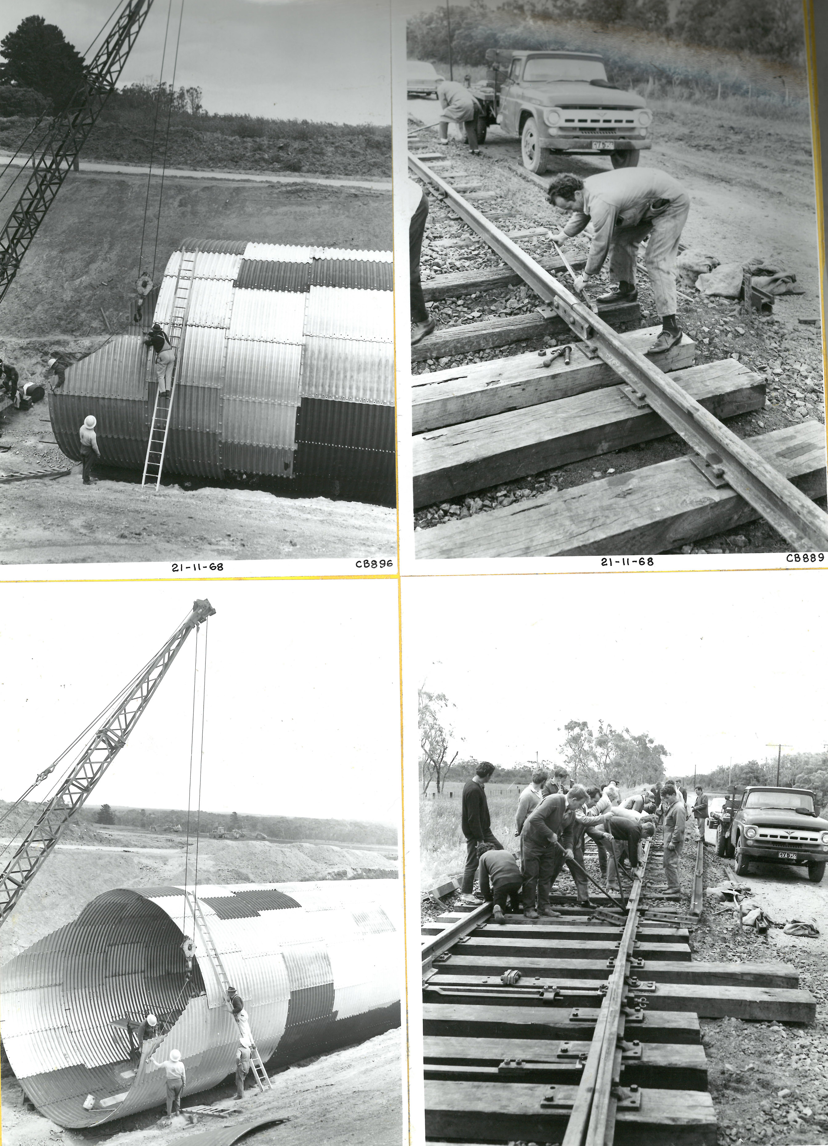 black and white photos of construction