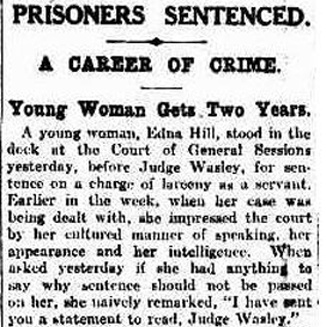a newspaper article about Edna being in court
