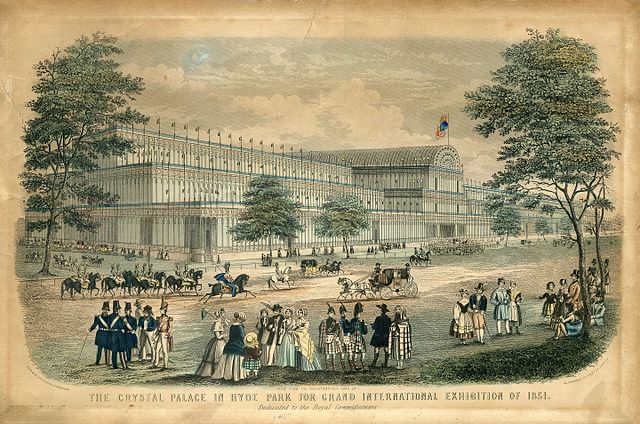 colour drawing of the crystal palace and people milling around it