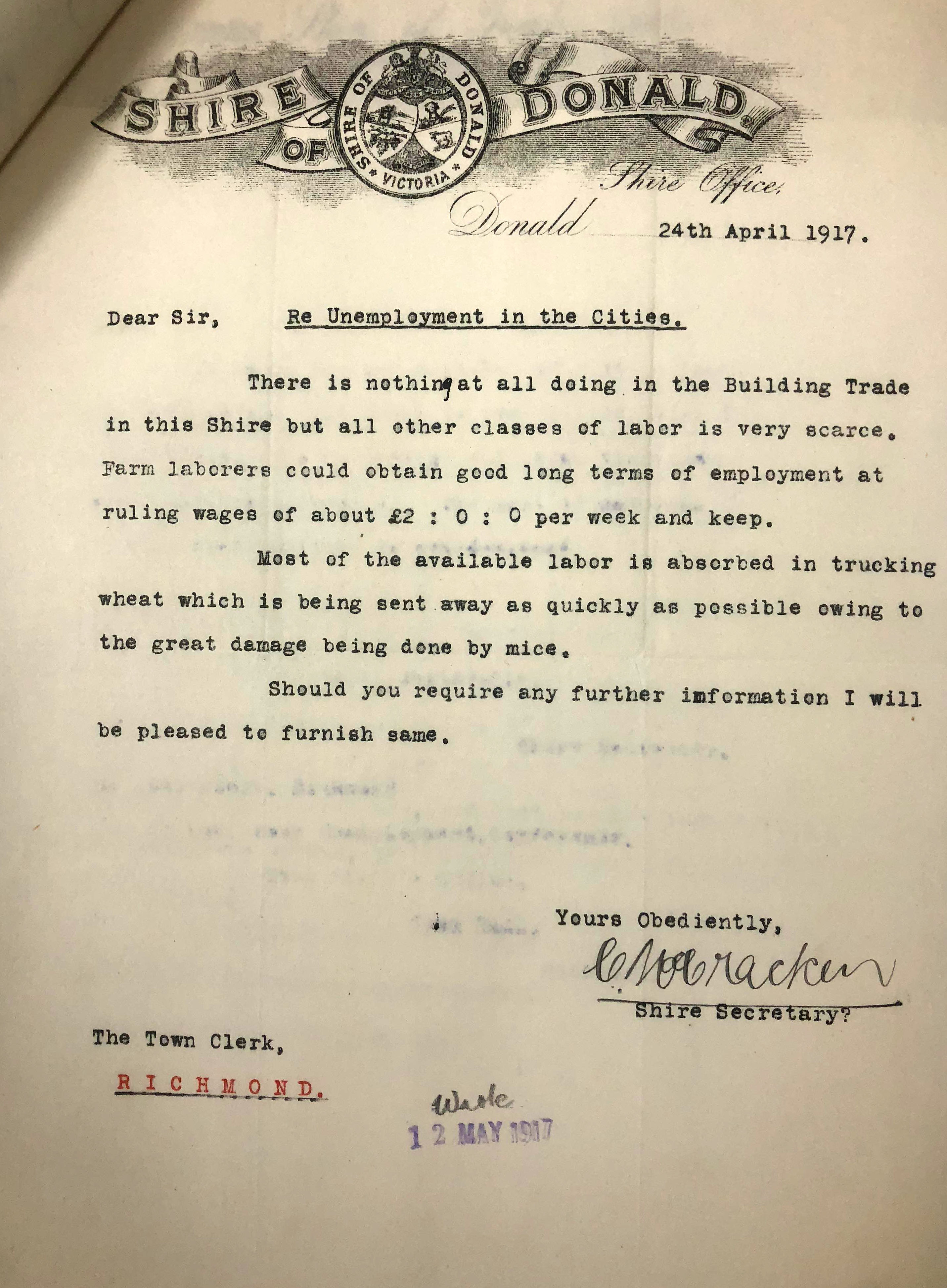 a letter re unemployment in the cities dated 24 April 1917 with Shire of Donald letterhead
