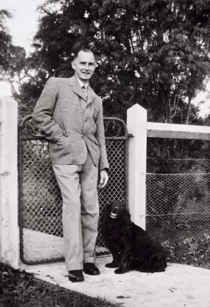 Dr John FJ Cade and his Dog Peter at Bundoora Repatriation Hospital, 1948