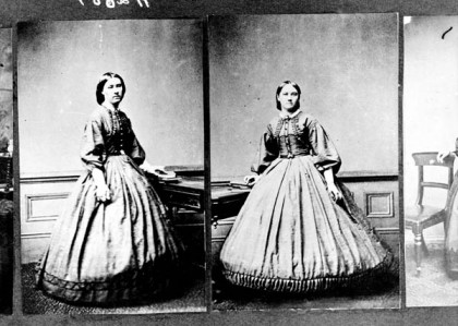 Black and white images of a woman in a hoop dress - possibly from the Victorian era.