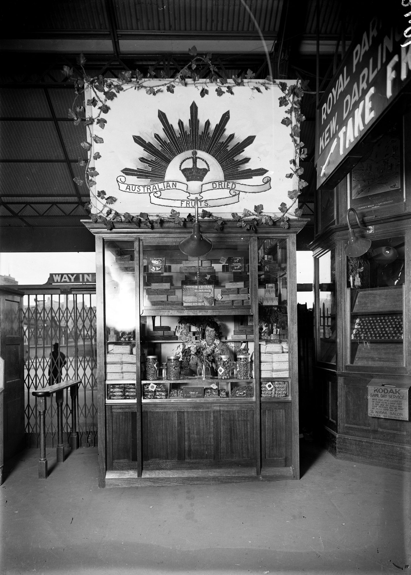 Dried fruit stall at Flinders Street Station, circa 1920s