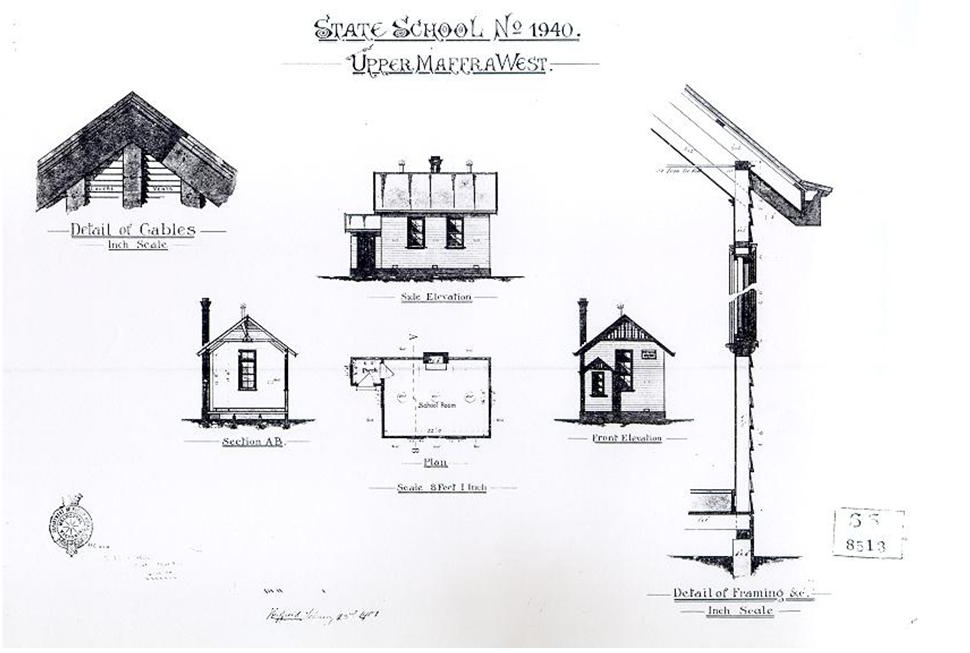black and white drawings of small school buildings