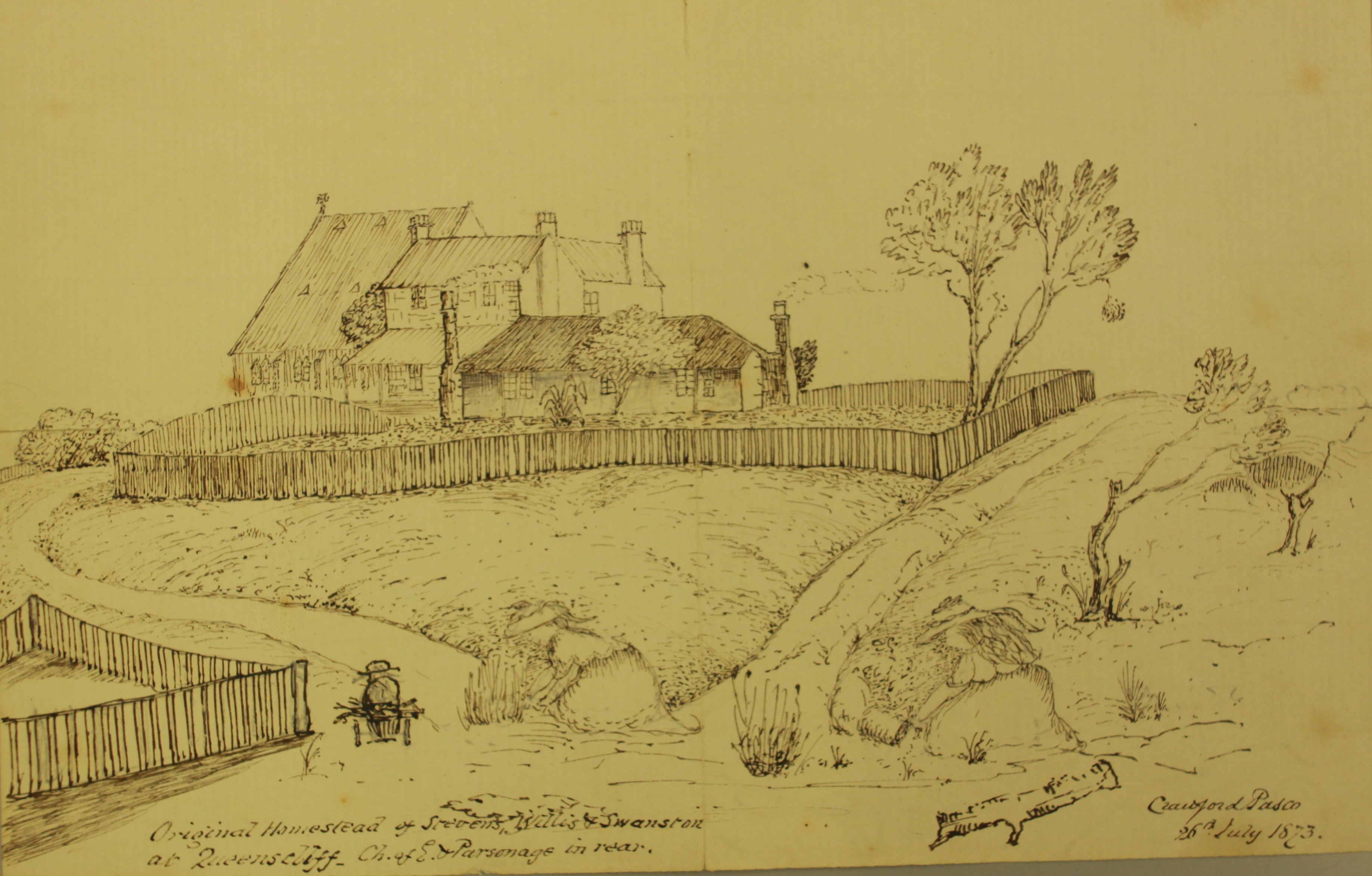 sketch of house with fencing and shrubbery