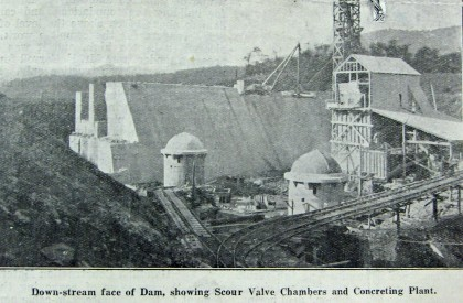 Photograph of the down-stream side of the dam wall showing the 'two scour valve chambers', now referred to as valve houses