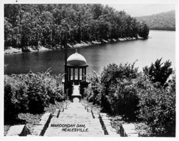 Postcard showing a flight of stone steps (still extant) leading to the outlet tower, circa 1950s.