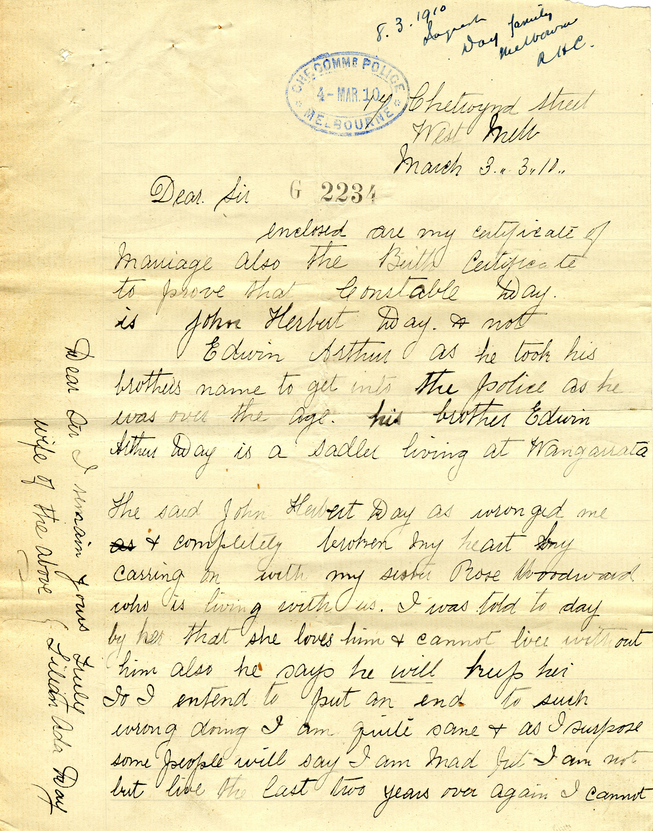 Revenge-laden letter written by Lilian Day to expose her husband's falsified entry to the Victorian police force.